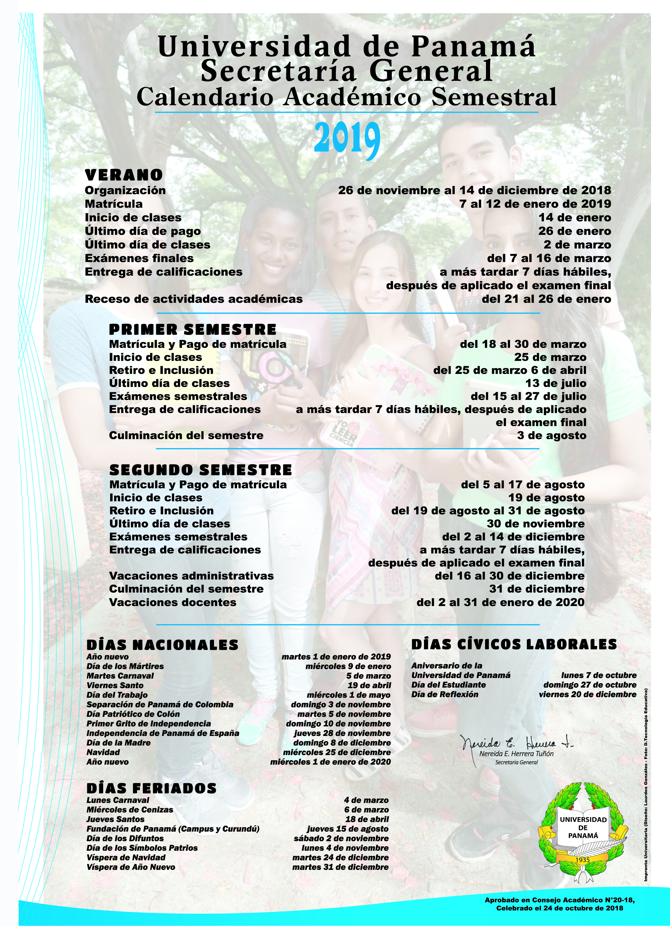 Calendario Escolar 2018 Panama.Matricula
